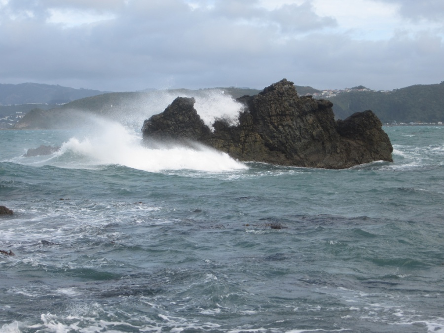 Photo: Waves near Akaroa, New Zealand
