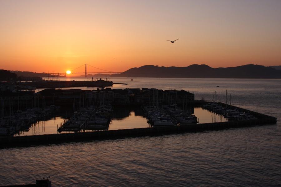 Photo: Sunset over the Golden Gate Bridge